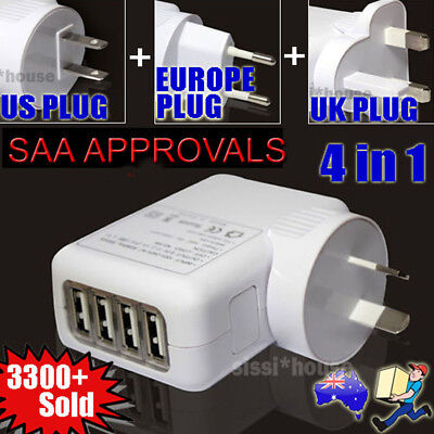 4 Port USB Home Travel Wall Charger US UK EU AU Plugs AC 2.1A Power Adapter NEW