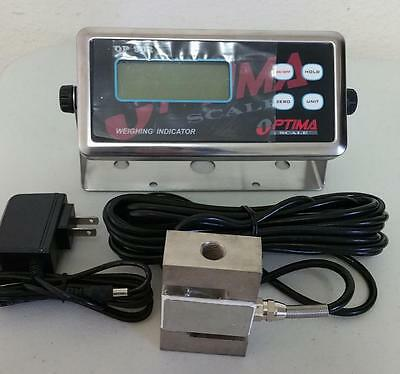 Compression Scale 3000X0.1 lb S Type load cell / Indicator,20' Cable,Cert,New
