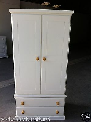 Hand Made Limited Offer Gents 2 Drawer Wardrobe White (No Flat Packs)