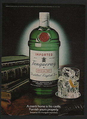 1981 TANQUERAY Distilled English Gin - A MAN'S HOME IS HIS CASTLE - VINTAGE AD