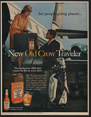 1968 OLD CROW Bourbon Whisky - New Old Crow Traveler - Jet - Airplane VINTAGE AD