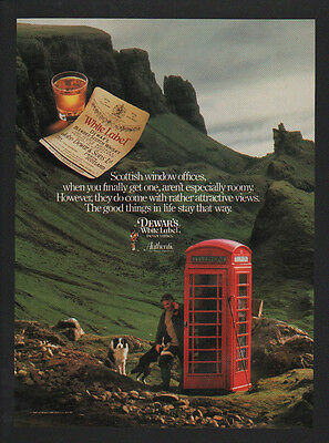 1989 BORDER COLLIE Dogs - DEWAR'S White Label Whisky  Telephone Booth VINTAGE AD