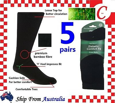 5 Pairs DIABETIC BAMBOO Socks Work Socks Medical Loose Top Crew Cushion Bulk New