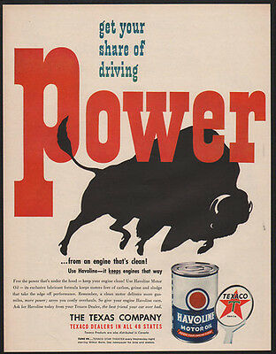 1949 TEXACO HAVOLINE Motor Oil - Get Your Share Of Driving - Buffalo -VINTAGE AD