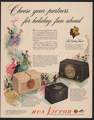 1949 RCA VICTOR Radios - Choose Your Partners For Holiday Fun Ahead - VINTAGE AD