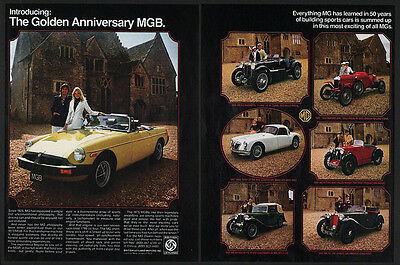 1975 MG MGB - GOLDEN ANNIVERSARY EDITION - VARIOUS OLD MG's - 2 Page VINTAGE AD