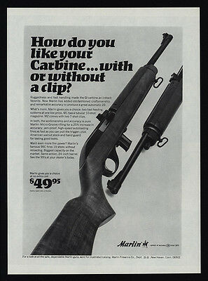 1967 MARLIN M1 M2 & 99C Carbine .22 Rifle Gun - With or Without Clip VINTAGE AD