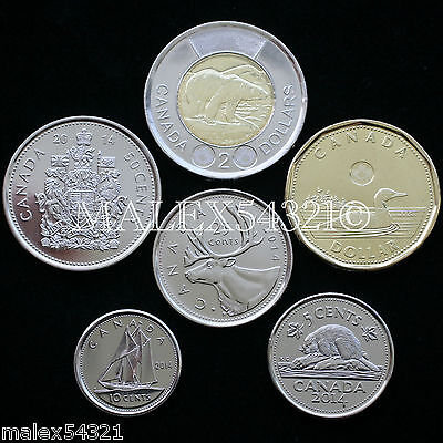 🇨🇦​Canada 2014 Complete Coin Set 5 Cents To 2 Dollars Uncirculated (6 Coins)