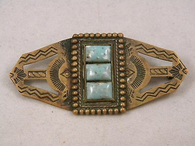 Vintage Fred Harvey Era Native American Pin W/ Turquoise