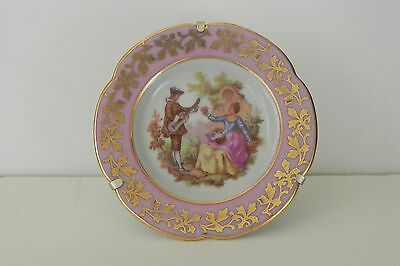 "French Limoges Vintage Small Plate W/Metal Stand Signed Fragonard  3  3/8"" Wide"