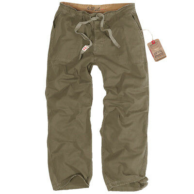 Surplus Mens Athletic Trousers Casual Vintage Cotton Military Pants Washed Olive