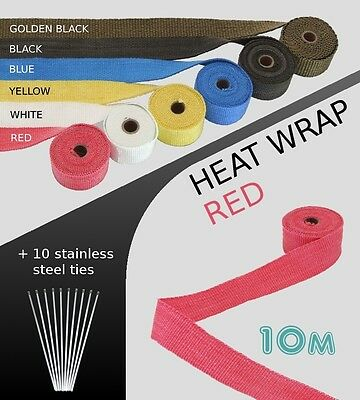 UNIVERSAL MOTORBIKE CAR VAN EXHAUST HEAT WRAP with ties - 10 METRE RED 10M-RED