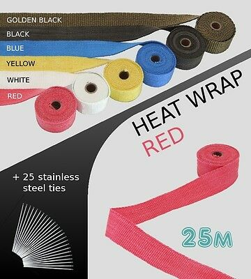 EXHAUST HEAT WRAP with ties - 25 METRE - RED - 25M-RED