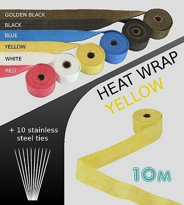 UNIVERSAL CAR MOTORBIKE EXHAUST HEAT WRAP with ties - 10 METRE -YELLOW - 10M-YEL