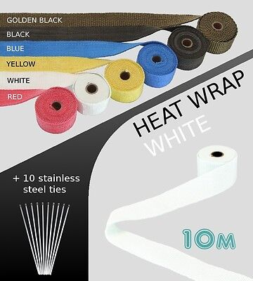 EXHAUST HEAT WRAP with ties - 10 METRE - WHITE - 10M-WHI