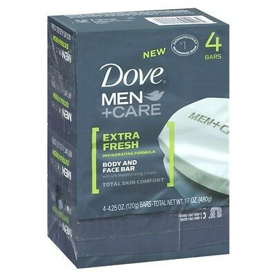 Dove Men+Care Extra Fresh Body and Face Bars - 4 Count