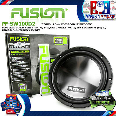 "Fusion Pf-Sw100D2 10"" Dvc 1400W Dual 2 Ohm Car Audio Subwoofer Sub Woofer Stereo"