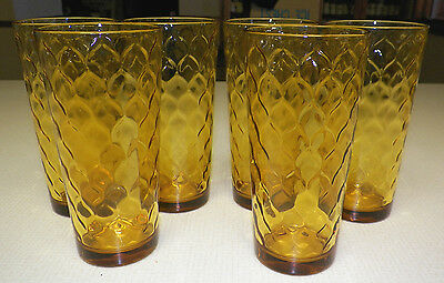 Set of 6 vintage anchor hocking yellow amber gold glass for Alpine cuisine fine porcelain design germany