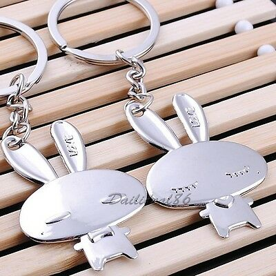 New Fashion Couple Keychains Keyfob Set Gift Pendent Love Rabbit Lovely Keyrings