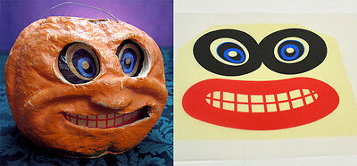 """Glassine Replacement Face For The """"Round Jol"""" Halloween Paper Mache Lantern #p"""