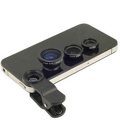 Black 3in1 Fish Eye+Macro+Wide Angle Clip On Camera Lens Kit for iphone Samsung