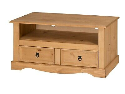 Corona TV Unit Flat Screen Wide Stand 2 Drawer Solid Pine by Mercers Furniture®