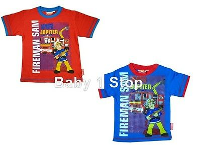 Fireman Sam Cotton Boys Tshirt Top Ages 2 to 6 Years Choice of Red or Blue