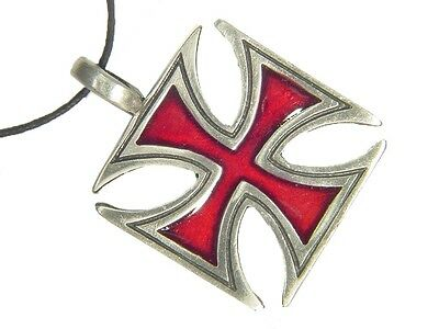 BUTW-  Knights Templar German Red Iron cross pewter pendant necklace 2184E