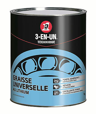 Graisse Universelle au lithium pot 1kg 3-EN-1 - 3-in-one