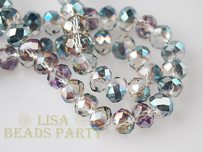 Hot 100pcs 4mm Crystal Glass Faceted Rondelle Loose Spacer Beads Rose Green