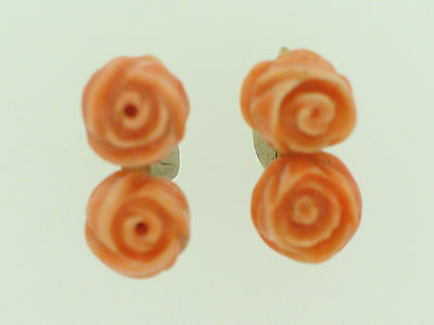 Antike Ohrringe mit Korallenrosen  Antic goldearrings with coralroses