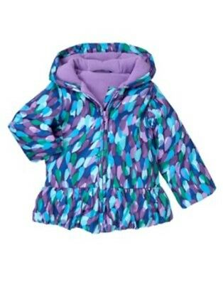 GYMBOREE COLOR HAPPY FLOWER N DOTS HOODED PUFFER JACKET 6 12 24 2 3 4 5 NWT