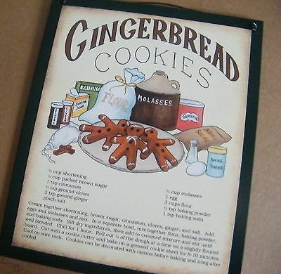Retro Primitive Rustic Vintage Country Kitchen GINGERBREAD COOKIES Recipe Sign
