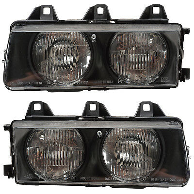 92-99 Bmw 3 Series  E36 Headlights Front Lamps Pair Set