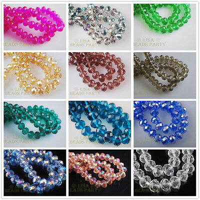 100pcs 3x4mm Faceted Rondelle Crystal Glass Loose Spacer Beads DIY Findings