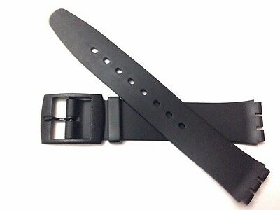 Replacement 17mm (20mm) Watch Strap for SWATCH SKIN - Black Resin Ultra Thin