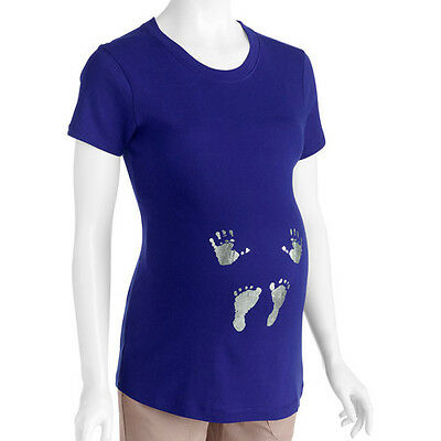New Womens Maternity Hands and Feet Graphic Tee Shirt Size S M L XL