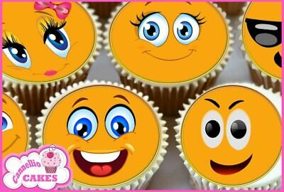 24 X Emoticon Smiley Emoji Faces Edible Cupcake Toppers Cake Wafer Rice Paper 87