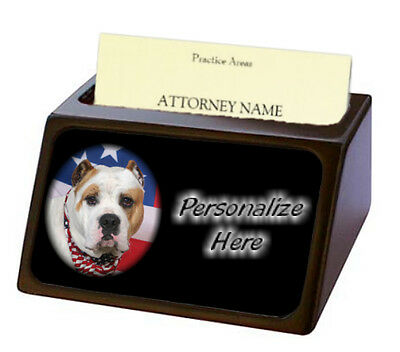 American Bulldog  Pet Breed  Personalized Business Card Holder