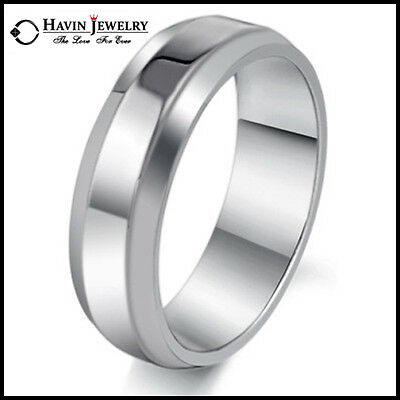 Silver Men's Women's Brief Style Stainless Steel Wedding Band Ring 7-14