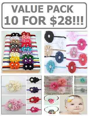 10 Pack!! Baby Headband Girl Adult Chiffon Tulle Flower Diamante Thin Elastic