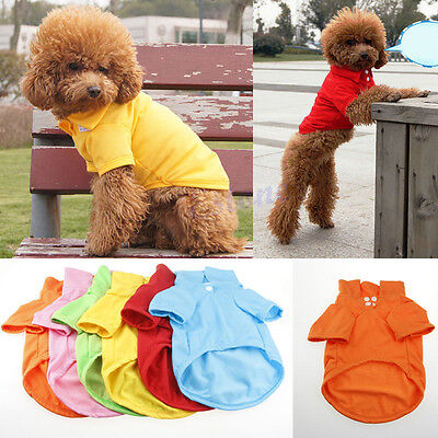 Pet Doggy Apparel Dog POLO Cool Puppy Clothes Cotton T-Shirts Size XS S M L XL