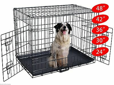 """Wire Folding Pet Crate Dog Cat Cage Suitcase Exercise Playpen 24""""/30""""/36""""/42""""/48"""