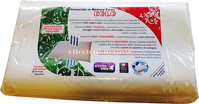 Cuscino guanciale antiacaro Memory Foam cervicale Eolo 100% Made in Italy