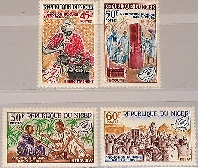 NIGER 1965 109-12 163-66 Promotion Radio Clubs Volksbildung Education MNH
