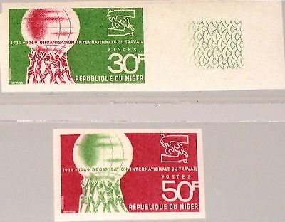 NIGER 1969 212-13 U 213-14 50th Ann World Labor Org. WLO Arbeitsorganisation MNH