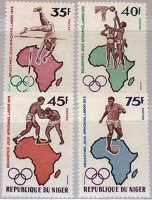 NIGER 1973 358-61 261-64 2nd African Sports Games Soccer Basketball Boxing MNH