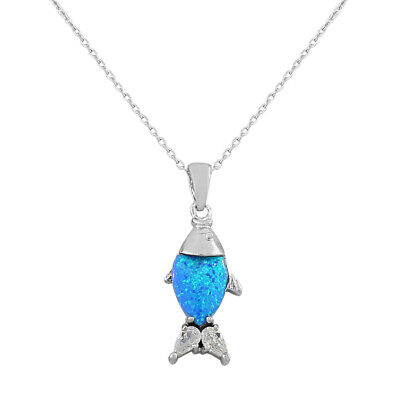 Sterling Silver Crystals Blue Turquoise Fish Marine Fire Opal Pendant Necklace