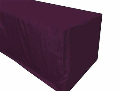 6' ft. Fitted Polyester Tablecloth Trade show Booth Table Cover Eggplant Purple