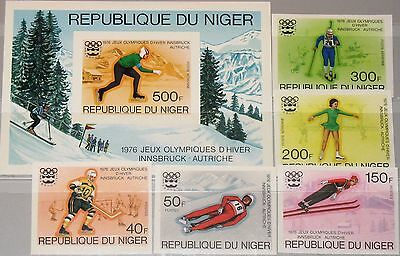 NIGER 1976 506-10 Block 12 U 347-49 C266-68 Winter Olympics Innsbruck Ice Hockey